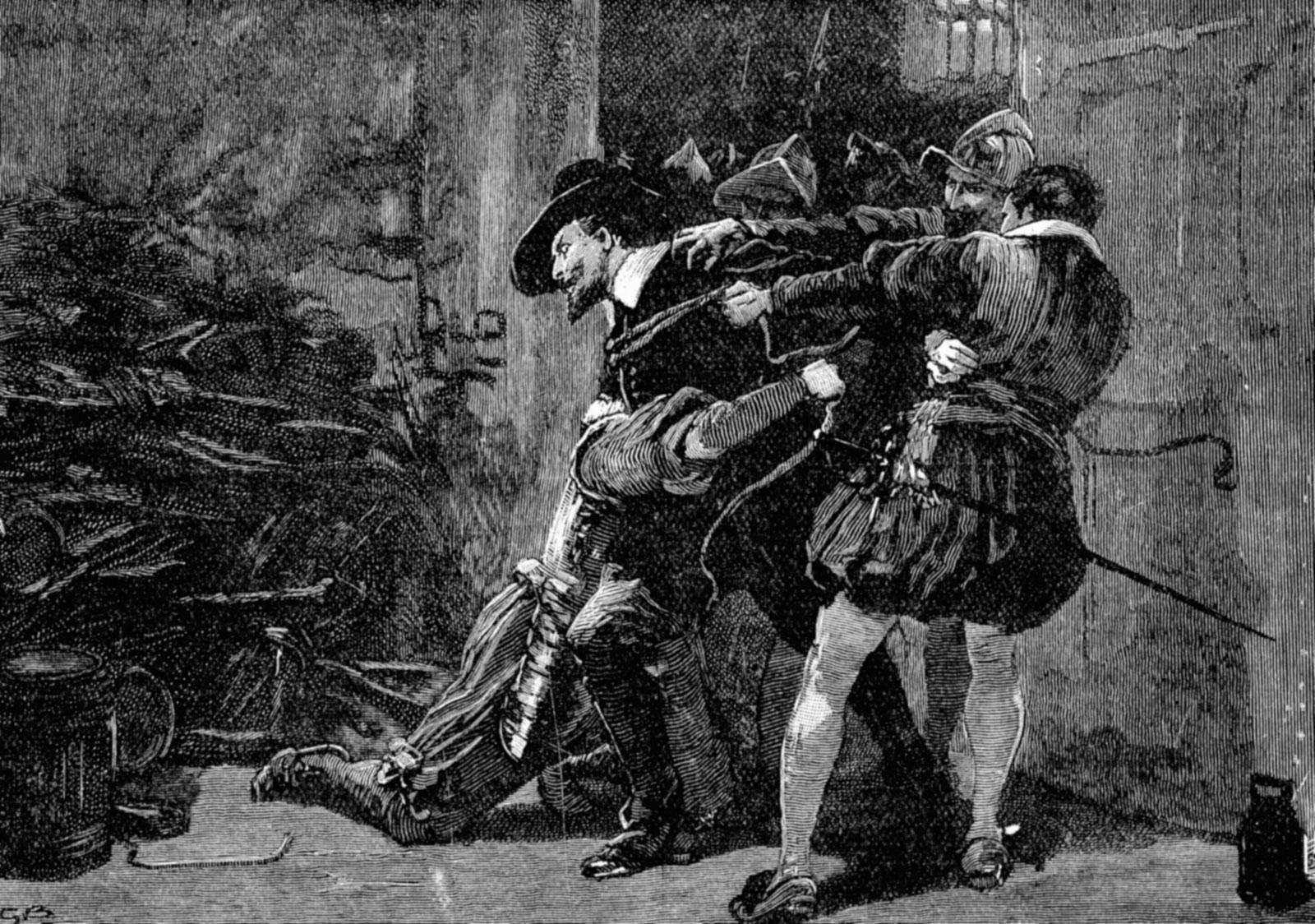 wood-engraving-Gunpowder-Plot-cellars-Guy-Fawkes