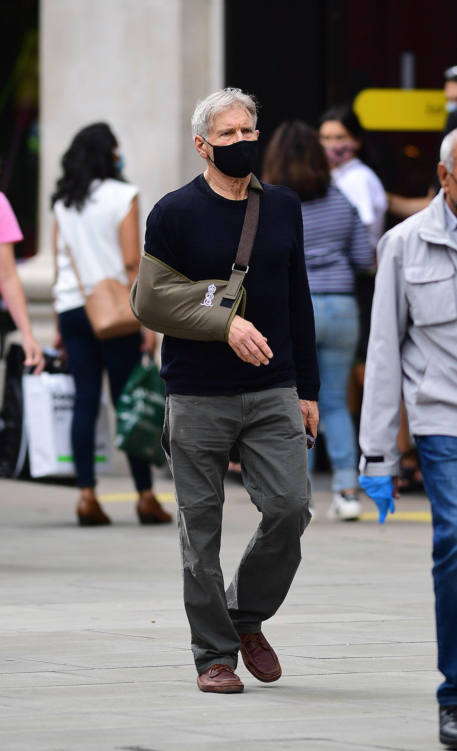 EXCLUSIVE: NO WEB BEFORE 6.15PM BST 3RD JULY 2021--  PREMIUM EXCLUSIVE RATES APPLY - Indiana Jones Actor And Hollywood Super Star Harrison Ford Seen For The First Time Since Surgery Wearing Shoulder Brace